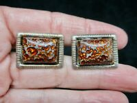 Vintage 1950's Men's Thermoplastic Glitter Cuff Links