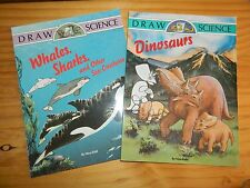 Lot of 2 DRAW SCIENCE Drawing Books* Whales Sharks Sea Creatures DINOSAURS