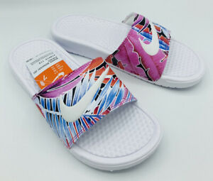 Nike Women's Benassi JDI Print Slide Sandals White/Pink 618919 113 Sz 7 NWT