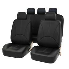Black Leatherette Car Seat Covers Front Rear Full Set Synthetic Leather Auto US