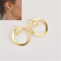 Simple Women Circle Round Ear Stud Earring Minimalist Gold Earring Jewelry CN57