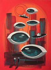 EL GATO GOMEZ PAINTING RETRO 1960'S PULP SCI-FI ROBOT ROCKET FUTURISTIC MARTIAN