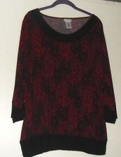 WOMAN PLUS 1X SLINKY KNIT TOP 18/20W TRAVEL KNIT TUNIC RED, BLACK SEQUIN SHIRT