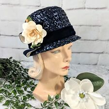 Vintage Michael Terre Southern California Navy Blue Straw- Like Woven Cloche Hat