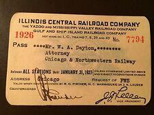 1926 Illinois Central Railroad Company railroad pass