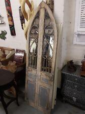 Rustic Arch Door mirror vintage blue Gothic large mirror with doors 180cm