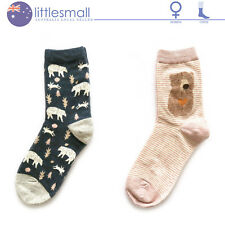 2 Pairs Women Socks Hosiery Crew Animal Bear Stripe Cute Casual