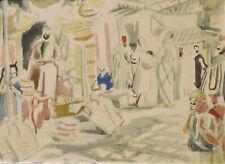 Louis Adolphe RIOU estampe pochoir orientaliste Maroc orientalisme carte voeux