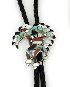Vintage Vera Luna sterling silver Zuni eagle dancer bolo tie Navajo 1970s USA