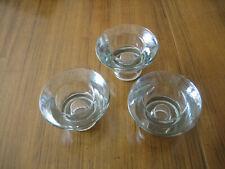 SET OF THREE HAPBERG DESIGN GLASS TEA LIGHT HOLDERS/CANDLESTICKS - NEW