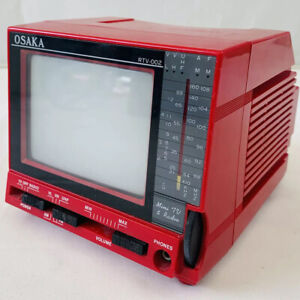 Vintage Retro 1980s Osaka RTV-002 Red Mini Portable Television and Radio