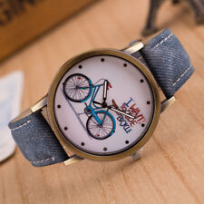 Reloj pulsera quiero montar mi de Bicicleta Bici Azul Imitación de Cuero Correa reina del dril de algodón