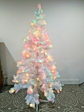 Metal White Christmas Tree Holiday Multi Color Lights Prestrung 6 feet 5 inches