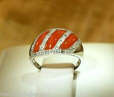 SOLID 14K WHITE GOLD GEOMETRIC CABOCHON CUT RED CORAL 0.13CTS DIAMOND RING 7 #2