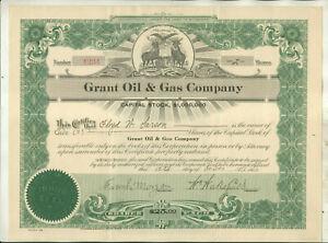 1922 GRANT OIL & GAS COMPANY MICHIGAN STOCK CERTIFICATE