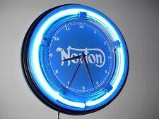 **Norton Motorcycle Garage Blue Advertising Neon Wall Clock Sign