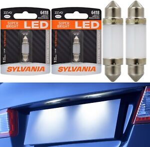 Sylvania ZEVO LED Light 6418 White 6000K Two Bulb License Plate Tag Replacement