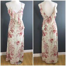 BNWT Asos Duck Egg Blue Floral Bird Print Strappy Ruffle Maxi Dress UK 8 New