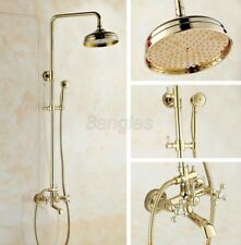 Luxury Gold Color Brass Wall Mounted Rain Shower Faucet Set Tub Mixer Tap 8gf341