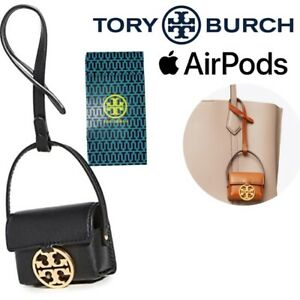 TORY BURCH Miller Black Leather Gold Logo APPLE AirPods 1 & 2 PRO Case Keychain