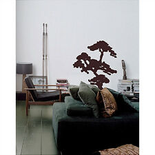 "BONSAI Japanese tree giant wall stickers MURAL 3 decals BROWN serenity 31""x37"""