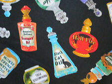 MAGIC POTIONS BOTTLE SPELLS BOTTLES WICKED COLORS COTTON FABRIC FQ