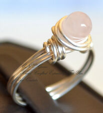 Natural Gemstone Crystal Rose Quartz Hand Crafted Silver Copper Wire Ring Large