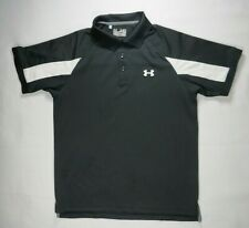 Under Armour Mens Polo Shirt M Heat Gear Black Regular Fit Logo Spellout Casual