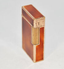 VINTAGE S.T. DUPONT PETROL GOLD PLATED & BROWN CHINESE LAQUER 1940's PARIS