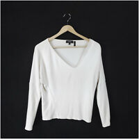 Theory Long Sleeve Top XS Women's Casual Basic White Viscose V-Neck Blouse