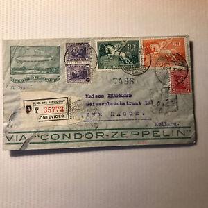 1932 CONDOR ZEPPELIN cover - URUGUAY to Holland