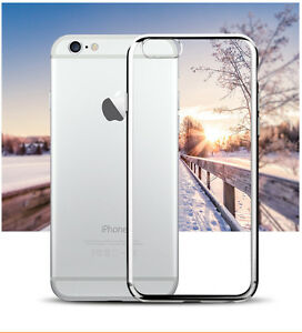 iPhone 6S Plus Silicone Silver Color Bumper Clear Jelly Slim Back Cover Case