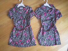 Twin girls HOT PINK BUTTERFLIES BLACK LEOPARD SPOTS dresses EUC 6 6X