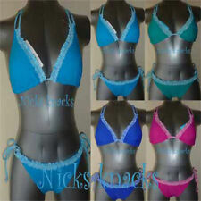 Halterneck Bikini Sets Striped Plus Size Swimwear for Women