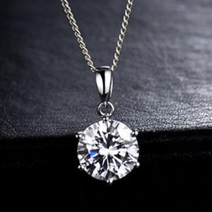 PLATINUM 1ct DIAMOND MOISSANITE SOLID PENDANT PLUS SS CHAIN CERTIFICATE/WARRANTY