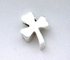 2/3 Inch Shamrock Clover PURE SOLID Sterling Silver Bead Focal Pendant Charm