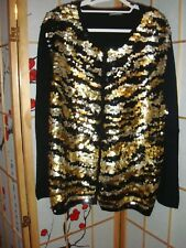 MICHAEL SIMON DAZZLING BLACK + GOLD SEQUIN CARDIGAN US PLUS SZ 2X or AUS18-20