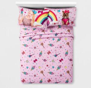 Nickelodeon JOJO SIWA Sheet Set - BowBow Rainbows Hearts Star Pink -FULL 🌟NEW🌟