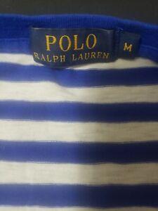 Ralph Lauren Polo Shirt Medium Blue White Stripes Pocket Mens