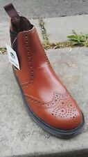 Mens Size 7  Leather Brogue Style Dealer Boots in Chestnut By Oak track.