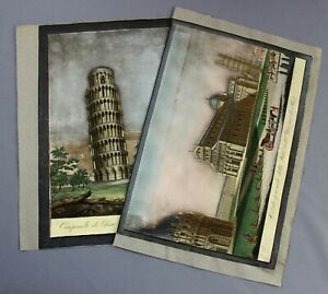 early 19th century Ranieri Grassi tower PISA two finely hand coloured engravings