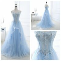 New Ready Made Party Prom Evening Dress Tulle Ball Gown Size 2 4 6 8 10 12 14 16