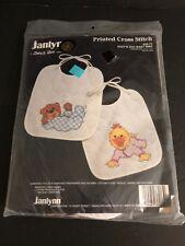 Janlynn Suzy's Zoo Printed Cross Stitch Kit Baby Bibs #38-73 NEW