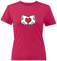 Mickey Mouse Heart Hands Gloves Love Symbol Juniors Women Teen Tee T-Shirt Gift