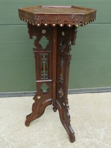 Antique C19th Hexagonal Moorish Style Side Table, Mother of Pearl Inlay