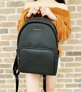 Michael Kors Erin Abbey Large Backpack Black MK Signature Leather PVC Laptop