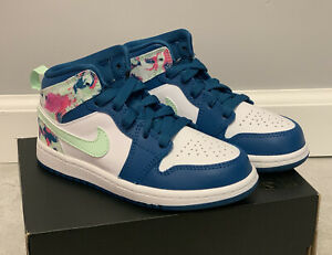 Jordan 1 MID Green Abyss Frosted Spruce Floral 640737-300 Size 11C