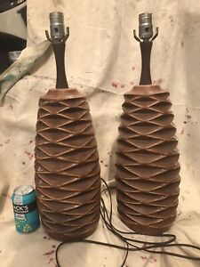 Pair Mid Century Honeycomb Pottery Lamps