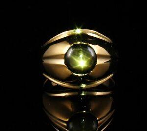 VINTAGE RARE FINE NATURAL 2.0ct BLACK STAR SAPPHIRE 14K GOLD MENS PINKY RING