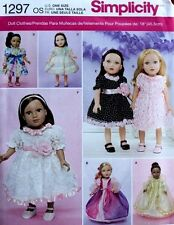 "18"" GIRL DOLL CLOTHES/DRESS Simplicity Sewing Pattern 1297 American Made NEW"